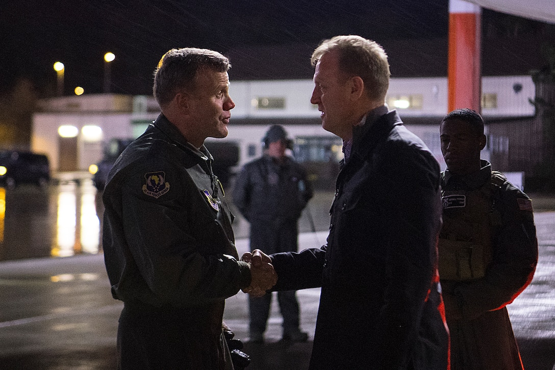U.S. Air Force Gen. Tod D. Wolters, U.S. Air Forces in Europe - Air Forces Africa commander, greets Acting Secretary of Defense Patrick Shanahan on Ramstein Air Base, Germany, Feb. 10, 2019. This stop marked Shanahan's first visit to Ramstein as acting defense secretary. (U.S. Air Force photo by Senior Airman Devin M. Rumbaugh)