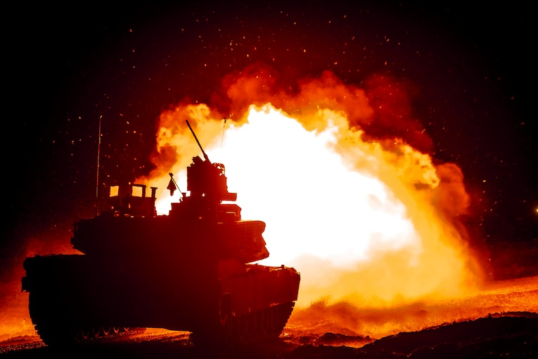A tank surrounded by fire.