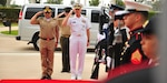 MIAMI (Feb. 20, 2019) -- U.S. Navy Adm. Craig Faller, commander of U.S. Southern Command, and Colombian Army Maj. Gen. Luis Navarro Jiménez, Commanding General of the Colombian Military Forces, render honors at SOUTHCOM headquarters. The two leaders met at SOUTHCOM to discuss U.S.-Colombia defense cooperation. Jiménez and Faller also participated in a roundtable with other SOUTHCOM leaders focused on the command's mission and its cooperation with Colombia and other partners in the region. (Photos by Juan Chiari, U.S. Army Garrison-Miami)