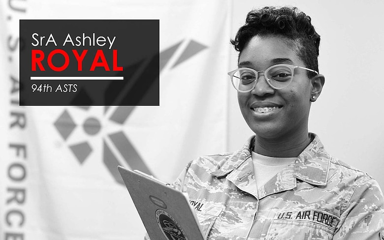 This week's Up Close features Senior Airman Ashley Royal, assistant NCOIC of flight medicine at the 94th Aeromedical Staging Squadron. Up Close is a series spotlighting individuals around Dobbins Air Reserve Base. (U.S. Air Force graphic/Staff Sgt. Andrew Park)