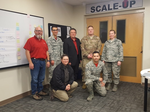 Enhanced Learning & Instructional Techniques Enrichment course graduates pose for a picture at Keesler Air Force Base, Mississippi, Feb. 1, 2019. Seven instructors have participated in the first small group tryout ELITE course, which is a five-day course focused on exposing attendees to the basics of student-centered active learning concepts and methodologies. This is the latest curriculum development initiative by the 81st Training Group aimed at creating instructors who are better prepared to train Mach-21 Airmen.  (Courtesy photo)