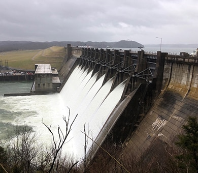 Wolf Creek Dam in Jamestown, Ky., releases water from Lake Cumberland Feb. 20, 2019.  (USACE photo by Misty Cravens)