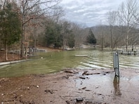 Water levels are high at Fishing Creek Recreation Area at Lake Cumberland, Ky., Feb. 19, 2019. The U.S. Army Corps of Engineers Nashville District closed this area to the public.  (USACE photo by Ashley Webster)