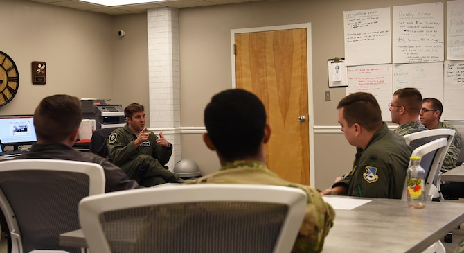 Maj. Ryan Brewer, 14th Flying Training Wing director of innovation, speaks with Airmen from the 552nd Air Control Wing at Tinker Air Force Base, Oklahoma, about the spark cell Feb. 13, 2018, on Columbus AFB, Mississippi. Tinker AFB plans to use what they learn at the Columbus AFB Spark Cell through shared information for their own version of a spark cell. (U.S. Air Force photo by Tech. Sgt. Christopher Gross)