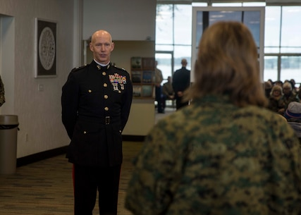 U.S. Marine Corps Brig. Gen. James F. Glynn, the Eastern Recruiting Region commanding general, gives his final remarks to attendees of the Educators Workshop aboard Marine Corps Recruit Depot Parris Island, South Carolina, Feb. 1, 2019. These educators traveled from Recruiting Station Fort Lauderdale to experience the Educators Workshop. The workshop allows educators to have an inside look at educational benefits and career opportunities in the Marine Corps. (U.S. Marine Corps photo by Lance Cpl. Jack A. E. Rigsby)