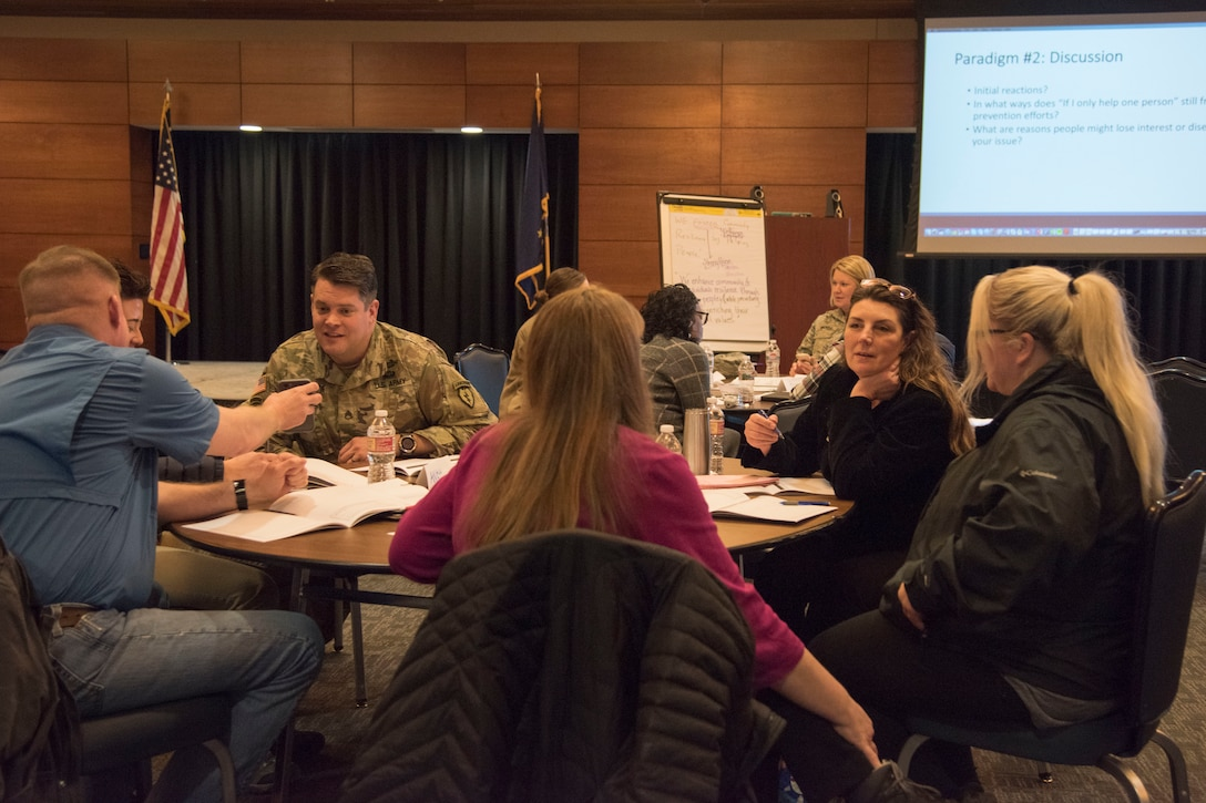 Attendees participate in a solution-driven Green Dot violence prevention seminar at Joint Base Elmendorf-Richardson, Alaska, Feb. 14, 2019. Beginning in January 2019, the Joint Installation Prevention Team shifted its focus from response to prevention when it comes to families in crisis.