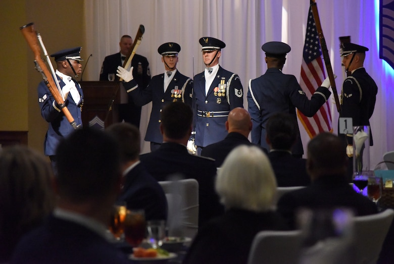 Members of the U.S. Air Force Honor Guard Drill Team perform during the Chief Induction Ceremony inside the Bay Breeze Event Center at Keesler Air Force Base, Mississippi, Feb. 15, 2019. Five Keesler Airmen earned their chief master sergeant stripe during the 2019 promotion release. Air Force officials selected 479 senior master sergeants for promotion to chief master sergeant out of 2,241 eligible for a selection rate of 21.37 percent. Chief master sergeants make up one percent of the Air Force enlisted force. (U.S. Air Force photo by Kemberly Groue)