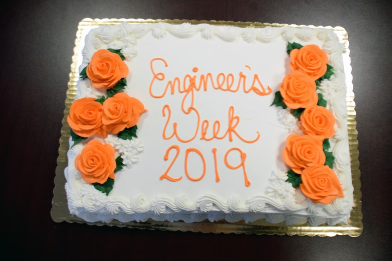 The U.S. Army Corps of Engineers Buffalo District celebrates National Engineers Week with cake at the District reservation in Buffalo, NY, Feb. 20, 2019.