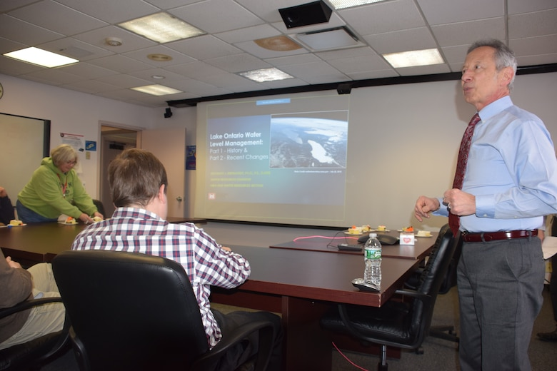 "Buffalo District employees attend a lunchtime PDH presentation on ""Lake Ontario Water Level Management - History & Recent Changes"" presented by Anthony J. Eberhardt, PhD, P.E., D. WRE, Buffalo, New York, February 20, 2019."