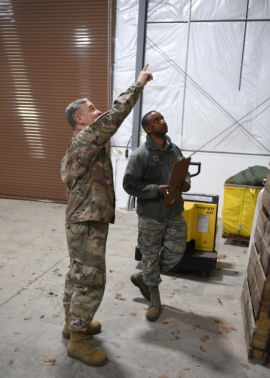 Tech. Sgt. Tobin Civils and Staff Sgt. Mamadou Bah, material management craftsmen with the 911th Logistics Readiness Squadron, assess the storage capacity of a new warehouse at the Pittsburgh International Airport Air Reserve Station, Pennsylvania, Feb. 14, 2019. The storage space in the warehouse will be used to house the mobility bag assets and readiness spares packages among other items. (U.S. Air Force Photo by Senior Airman Grace Thomson)
