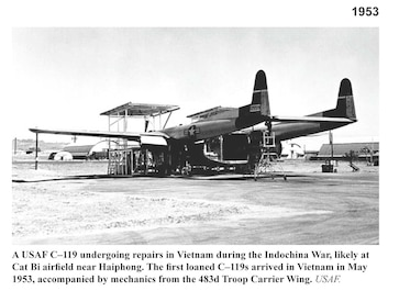 Photo of USAF C-119 airplane in early 1950's.