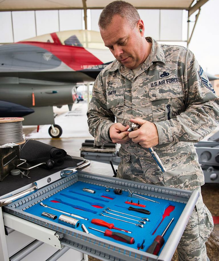 Senior Master Sgt. David Smith, an F-16 Fighting Falcon weapons loader assigned to the 149th Fighter Wing, prepares a jet for weapons training at Joint Base San Antonio-Lackland Feb. 9.