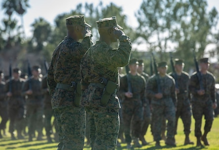 Sgt. Maj. Pascal Dacilas relieved Sgt. Maj. Andre Cuthbertson as the sergeant major for 1st Law Enforcement Battalion. (U.S. Marine Corps photo by Lance Cpl. Haley McMenamin)