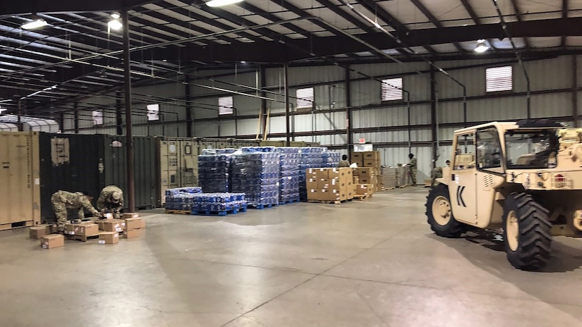 Rapid Deployment Team Blue helped provide construction material like those shown here at a staging facility in Donna, Texas, about six miles from the southern border.