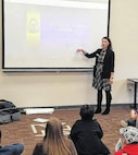 Dr. Lubjana Beshaj, a member of the Army Cyber Institute and a Teacher in the Department of Mathematical Sciences at the United States Military Academy (USMA) at West Point, addresses middle school students about Cryptography and Cyber Security.
