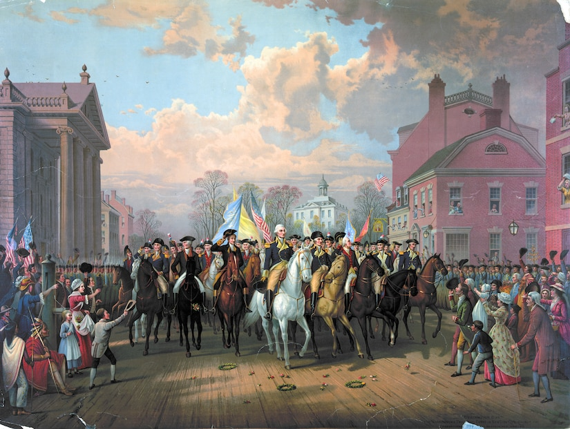 """Lithograph of """"Evacuation Day"""" and Washington's Triumphal Entry in New York City, Nov. 25th, 1783 by E.P. & L. Restein"""