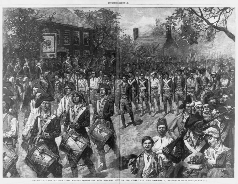 Howard Pyle drawing of the Continental Army marching down the Old Bowery, New York, Nov. 25, 1783.
