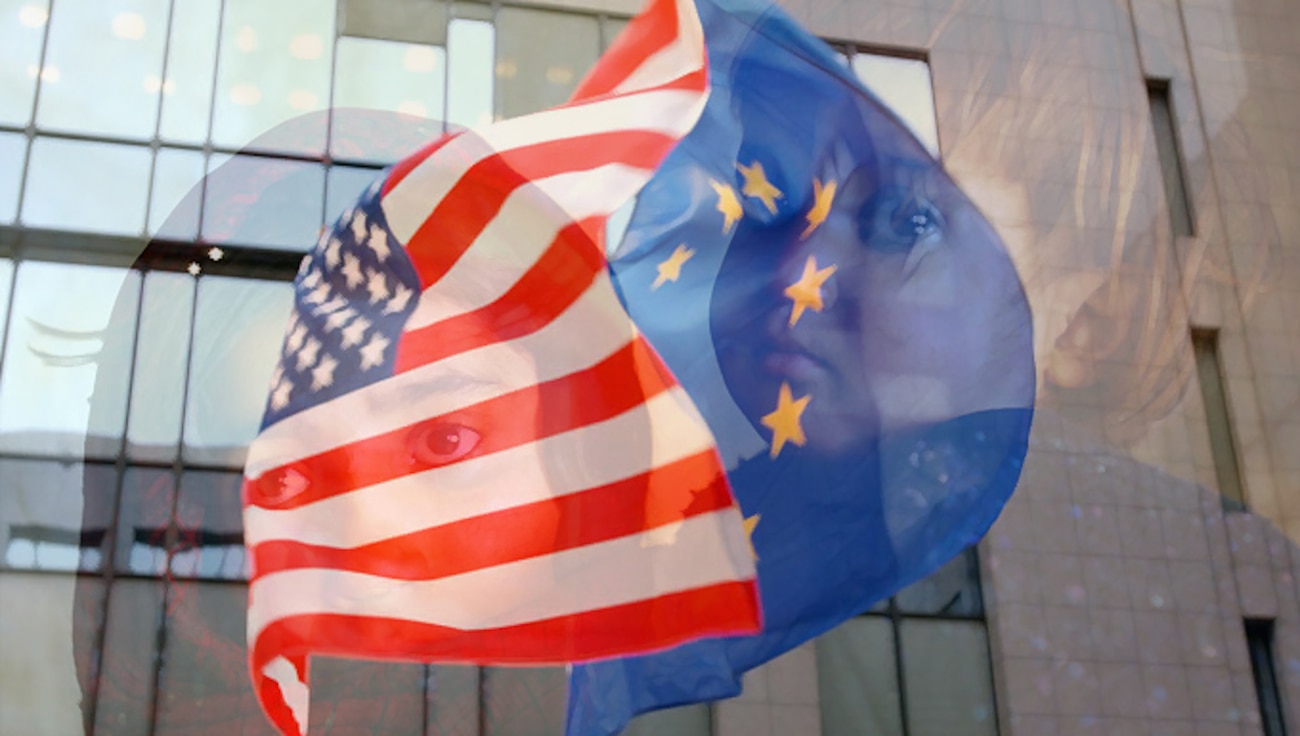 Swirling American and European Union flags in front of an office building overlayed with an image of a woman in a headscarf with a small, teary-eyed child in a blue sweater.