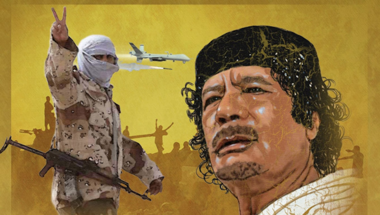 Yellow background with shadows of rebel fighters. A Libyan fighter posed with a headscarf and automatic weapon is giving the peace symbol while the portrait of Muammar Gaddafi's face appears on the side. In the middle a USAF drone is dropping a missile.