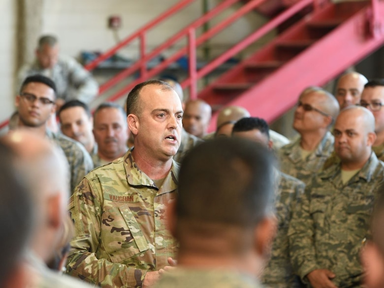 U.S. Air Force Brig. Gen. Edward L. Vaughan, Special Assistant to the Director, Air National Guard, for Puerto Rico Recovery addresses Airmen from the 156th Maintenance Squadron at a recent regularly scheduled drill.
