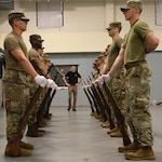 National Guard members from Arkansas, Alabama, Texas, Louisiana, Indiana, Oklahoma and New York practice drill and ceremony at a Military Funeral Honors Level II Instructor Certification Course at Jackson Barracks in New Orleans, Feb. 12, 2019. Soldiers who graduate this course demonstrate mastery in rendering veterans' final honors and can instruct new MFH members.