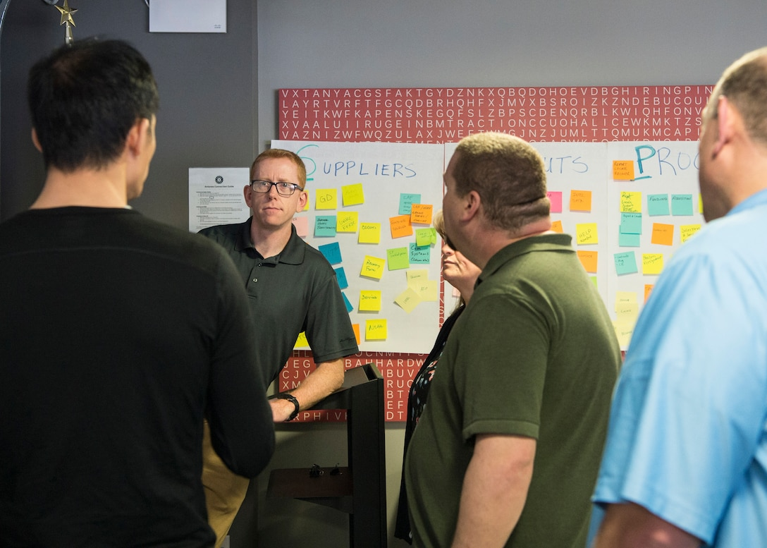 Individuals from Air Education and Training Command, the Defense Innovation Unit, the Air Force Life Cycle Management Center participate in a problem-definition workshop at the AFWERX Austin hub Feb. 5, 2019.  AFWERX hosted the workshop to help the personnel recovery career field to define the problems that are driving the need for new innovative technology. (Courtesy Photo)