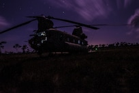 A U.S. Army CH-47 Chinook sits in a field during aerial gunnery training in Belize, Feb. 11, 2019.