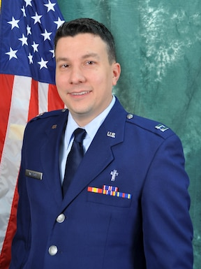 Capt. John Weston, 507th Air Refueling Wing Chaplain, stands for an official photo. (U.S. Air Force photo)