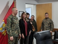 Col. Craig C. Clemans, base commander, introduces Dawn Rowe, newly appointed 3rd District Supervisor, San Bernardino County, to the command staff during her visit to MCLB Barstow Feb. 19. To Supervisor Rowe's left is Elaine ViIlarreal, field representative for the Barstow area, Karen Gray, base strategic planner, and 1stSgt Enrique DeAnda, Headquarters Company first sergeant.