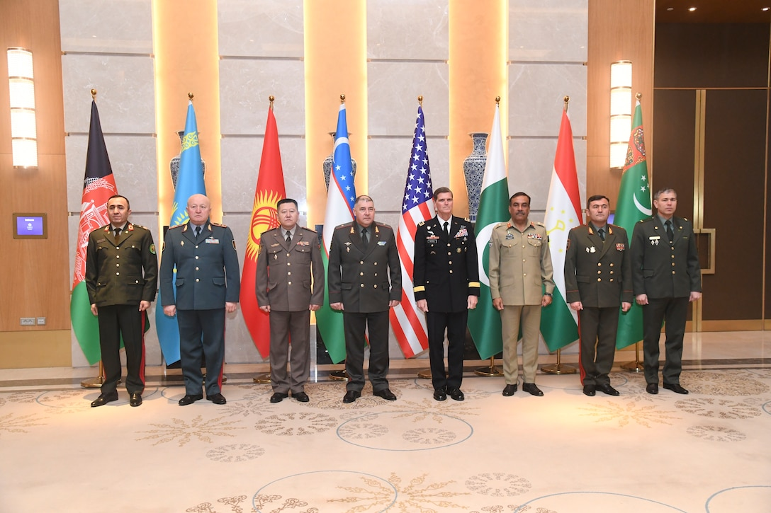 General Joseph Votel, U.S. Central Command commander with the Chiefs of Defense for the Central Asian states meeting in Tashkent, Uzbekistan.