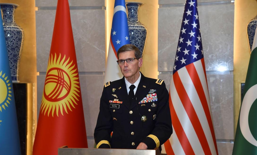 General Joseph Votel, commander, U.S. Central Command, addresses the Central Asia Chiefs of Defense Conference in Tashkent, Uzbekistan February 21, 2019.