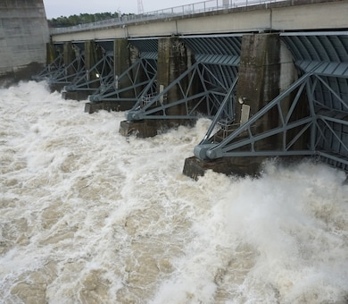 Old Hickory Dam in Old Hickory, Tenn., releases water at a rate of 97,000 cubic feet per second Feb. 21, 2019.  (USACE photo by Mark Rankin)
