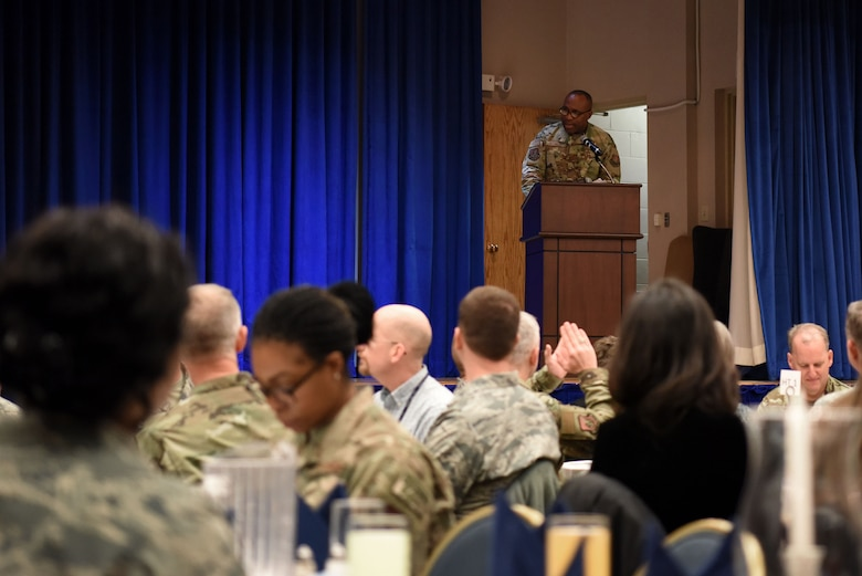 U.S. Air Force Chaplain Capt. Joseph Idomele, 51st Fighter Wing chaplain, introduces the guest speaker for the Chaplain Corps resiliency luncheon held at the Officer's Club on Osan Air Base, Republic of Korea, Feb. 21, 2019. The event's guest speaker was retired Air Force Chief of Chaplains, Maj. Gen. Dondi Costin. (U.S. Air Force photo by Senior Airman Kelsey Tucker)