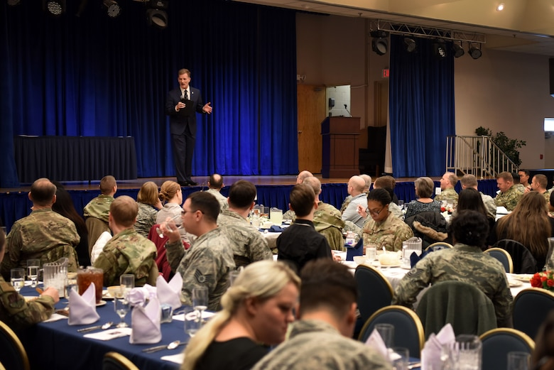 U.S. Air Force retired Maj. Gen. Dondi Costin, prior Air Force Chief of Chaplains, speaks to attendees at a resiliency luncheon held by the 51st Fighter Wing Chaplain Corps at Osan Air Base, Republic of Korea, Feb. 21, 2019. Costin now serves as the third president of Charleston Southern University, Charleston, South Carolina. (U.S. Air Force photo by Senior Airman Kelsey Tucker)