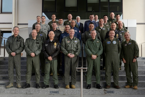 Military leaders from several European countries join U.S. Air Forces in Europe 5th Generation Integration Division for an F-35 Air Chief meeting on Ramstein Air Base, Germany, Feb. 12, 2019. U.S. Air Force Gen. Tod D. Wolters, USAFE commander, hosted a meeting that brought nine nations together and focused on how the European User's Group for the F-35A Lightning II would work together.