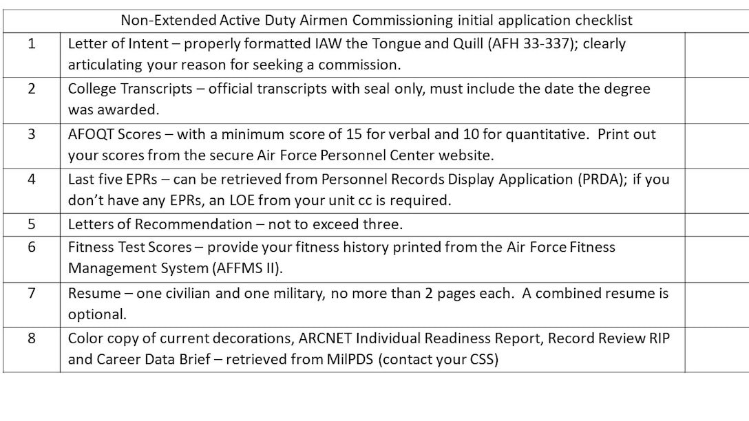 Non-Extended Active Duty Airmen Commissioning Program checklist