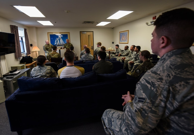 Chief Master Sgt. Daniel C. Simpson, 18th Air Force command chief master sergeant, hosts a discussion with dorm residents Feb. 14, 2019, at Joint Base Charleston, S.C.