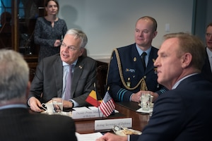 Acting Defense Secretary Patrick M. Shanahan, right, meets with Belgian Defense Minister Didier Reynders at the Pentagon.