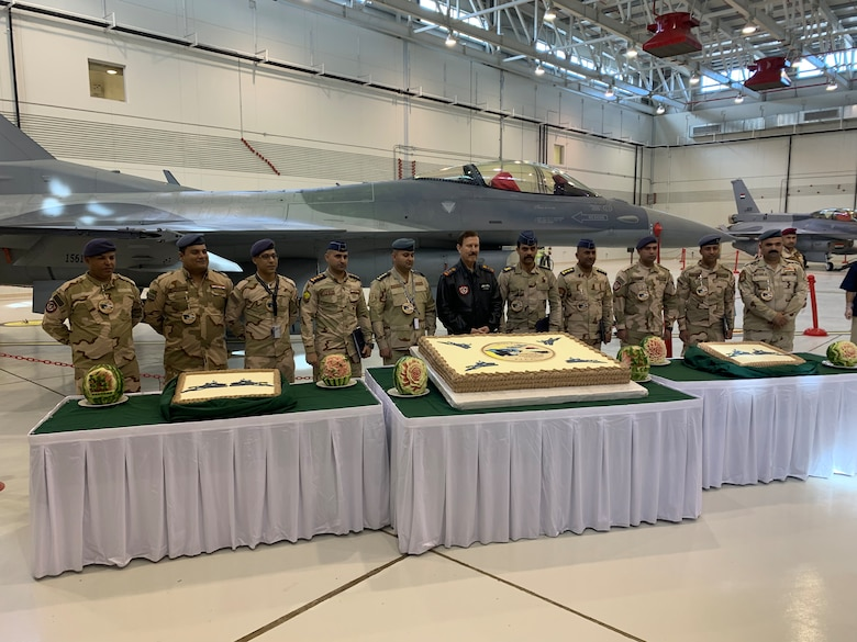 F-16 seven-level maintenance technicians from the Iraqi Air Force were recently recognized by Lt. Gen. Anwar Hamadamin, at a graduation ceremony held at Balad Air Base, Iraq. (Courtesy photo)