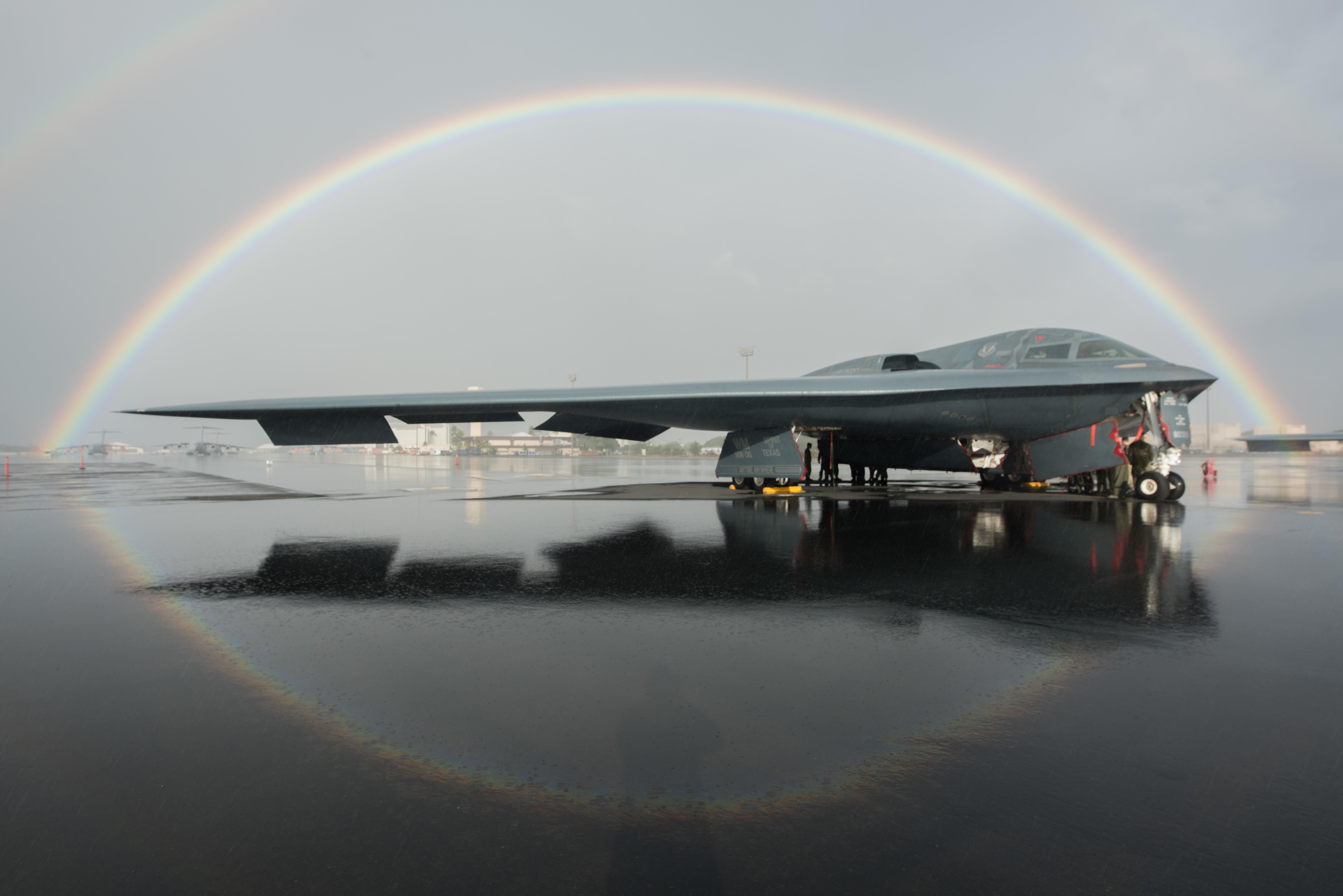 Rainbows over Joint Base Pearl Harbor-Hickam, Hawaii, USA