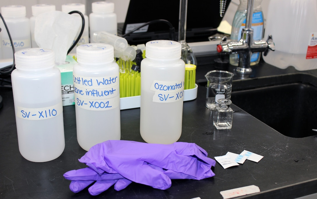 Water testing inside the Advanced Treatment Pilot Study trailer at the McMillan Water Treatment Plant, Washington Aqueduct, District of Columbia, Dec. 19, 2018. (U.S. Army photo by Sarah Lazo)