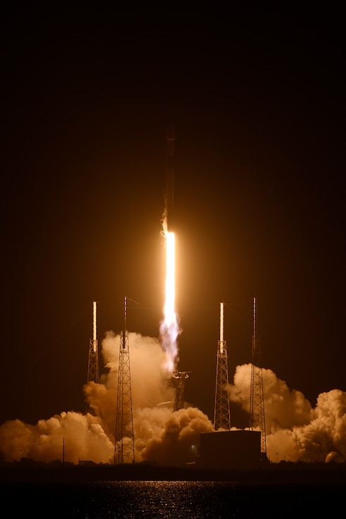 SpaceX's Falcon 9 PSN VI rocket prepares to launch from Cape Canaveral Air Force Station, Fla., Feb. 21, 2019. The satellite will provide communication and internet services for Indonesia and South East Asia. (U.S. Air Force photo by Tech. Sgt. Andrew Satran)