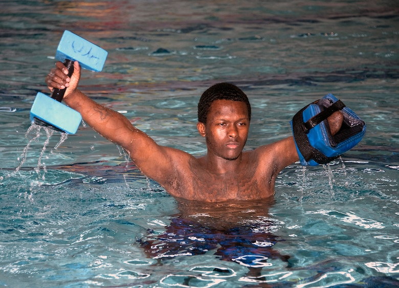 U.S. Army Staff Sgt. Kayshawn Porterfield exercises in the pool at Brooke Army Medical Center's Center for the Intrepid at Joint Base San Antonio-Fort Sam Houston Feb. 20. Aquatic therapy is used to improve balance, coordination and flexibility as well as building muscle strength and endurance.