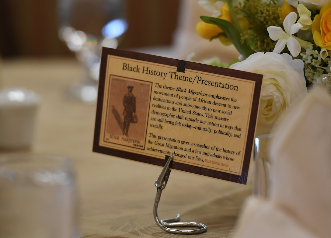 "An information card is displayed during the Black History Month Luncheon inside the Bay Breeze Event Center at Keesler Air Force Base, Mississippi, Feb. 20, 2019. The theme of Black History Month this year is ""Black Migrations."" The theme emphasizes the movement of people of African descent to new destinations and subsequently to new social realities in the U.S. Keesler hosted several events throughout the month to include a 5K run, luncheon, movies and will conclude with a close-out celebration Feb. 28. The events are meant to help Keesler personnel to remember, educate and celebrate black history. (U.S. Air Force photo by Kemberly Groue)"