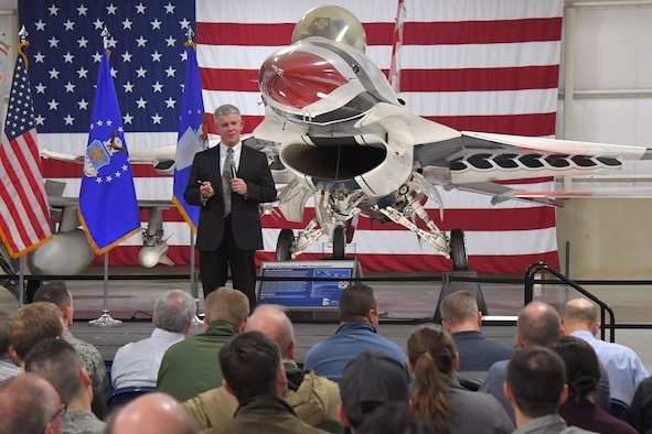 Thomas Lockhart, director of engineering for the Air Force Nuclear Weapons Center, during the 2018 annual Team Hill science, engineering, and technical management awards Feb. 21, 2019, at Hill Air Force Base, Utah. Lockhart was the keynote speaker for the ceremony, which recognizes Hill AFB's technical workforce who have excelled throughout the year. (U.S. Air Force photo by Todd Cromar)