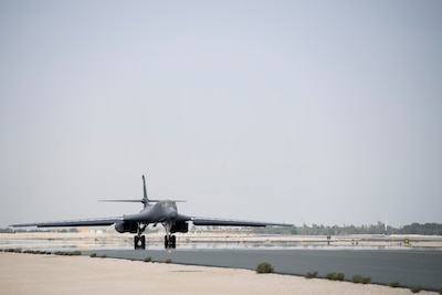 A U.S. Air Force B-1B Lancer, 9th Expeditionary Bomb Squadron, Air Force Central Command, takes off from Al Udeid Air Base, Qatar, during Joint Air Defense Exercise 19-01, Feb. 19, 2019. The aircraft participated with regional partners to test objective-based command and control actions during the exercise. (U.S. Air Force photo by Senior Airman Gracie I. Lee)