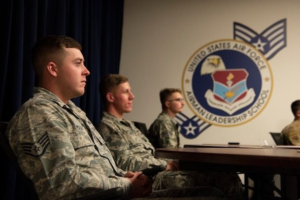 Airman Leadership School students listen to Chief Master Sgt. Craig Williams, 325th Fighter Wing command chief, at the Force Development Center at Tyndall Air Force Base, Fla., Feb. 15, 2019. This was the first ALS course to be hosted at Tyndall since Hurricane Michael devastated the base Oct. 10, 2019.