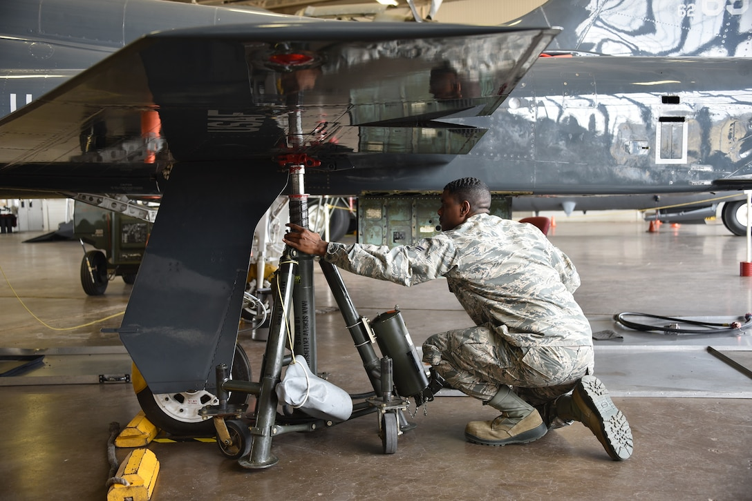Airman 1st Class Ahmad Anderson, 364th Training Squadron hydraulic systems maintenance apprentice course student.