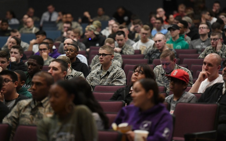 Keesler personnel listen to opening remarks made by Barry Lyons, Biloxi Shuckers Minor League Baseball Team ambassador, prior to the playing of the movie, 42, inside the Welch Theater at Keesler Air Force Base, Mississippi, Feb. 21, 2019. The movie, a story of Jackie Robinson's rise to fame in Major League Baseball, was shown in celebration for Black History Month. Lyons played 14 years of professional baseball to include seven years in the major leagues. Keesler hosted several events throughout the month to include a 5K run, luncheon, movies and will conclude with a close-out celebration Feb. 28. The events are meant to help Keesler personnel to remember, educate and celebrate black history. (U.S. Air Force photo by Kemberly Groue)