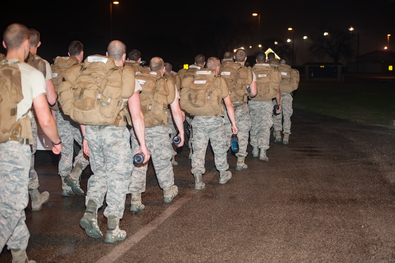 Hundreds of Special Tactics (ST) Airmen and Special Warfare trainees gathered early morning to begin an 830-mile ruck march across five states in tribute to U.S. Air Force Staff Sgt. Dylan J. Elchin, along with 19 other ST Airmen, who have been killed in action since 9/11, Feb. 22, 2019, at Joint Base San Antonio-Lackland Medina Annex.
